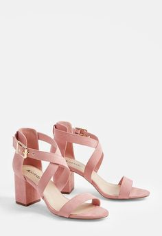 Ankle Straps Heels 84239 A chic faux suede sandal with a low block heel and crisscross ankle strap buckle closure. Low Heel Sandals, Ankle Strap Heels, Ankle Straps, High Heels, Suede Sandals, Gladiator Sandals, Pretty Shoes, Cute Shoes, Shoes Uk