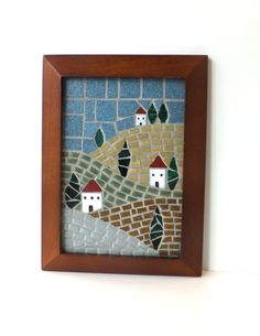 Mosaic landscape Home Decor Framed 5x7 Mosaic by MollycatMosaics, $75.00