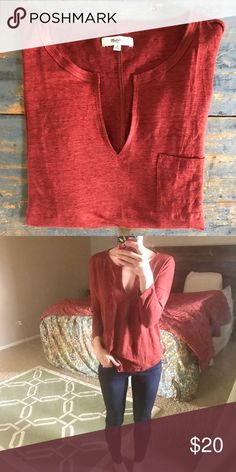 Madewell high-low tee Rusty redbone-neck, high-low Madewell top. 3/4 length sleeves with a slightly cropped length in front which hits at the waistband. Size M. Excellent condition. Madewell Tops Tees - Long Sleeve