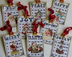 altered bingo card | Vintage inspired Christmas Bingo Card Tags for Scrapbooking, Mini ...