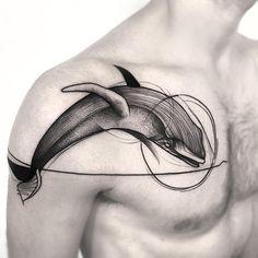 blackwork whale tattoo design