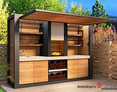 Outdoor kitchen bar ideas are usually made to blend with nature. Either in stone or wooden structure, it makes cozy place to cook and eat outdoor together. Modern Outdoor Kitchen, Outdoor Kitchen Bars, Backyard Kitchen, Small Outdoor Kitchens, Outdoor Living, Outdoor Bars, Outdoor Patios, Small Patio, Outdoor Rooms