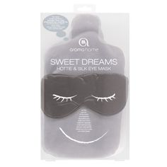 "Sweet Dreams Hottie & Silk Eye Mask by Aroma Home. $24.99. 7.5"" x 13"" x 1.5"". Lavender with other herbal pure essential oil. Product Description Indulge in some luxurious relaxation with our Sweet Dreams Hottie & Silk Eye Mask. Relax or sleep anywhere with these and arrive rested and refreshed. Pink hottie contains a blend of lavender & rose pure essential oil. Lavender hottie contains lavender pure essential oil. Grey hottie contains a blend of lavender, ylang ylang &..."