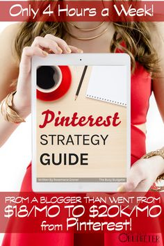 The Pinterest Strategy Guide Cheat Sheet. All the stuff you need to get high pageviews (and income!) from Pinterest. None of the fluff. *Highly recommend! I've followed her blog for years! She's killing it! I went from 300 to a little under 3,000 pageviews a day only 6 weeks after implementing this strategy. Her videos made it so much easier to implement than I thought it would be.