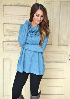 Dottie Couture Boutique - Cowl Tunic- Blue , $39.00 (http://www.dottiecouture.com/cowl-tunic-blue/)