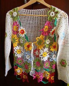 Fabulous Crochet a Little Black Crochet Dress Ideas. Georgeous Crochet a Little Black Crochet Dress Ideas. Crochet Bolero, Gilet Crochet, Crochet Coat, Crochet Jacket, Freeform Crochet, Crochet Cardigan, Irish Crochet, Crochet Motif, Crochet Clothes