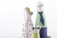 Home decor Family - Couple with child , Mother father and girl ,dressed in Geometric green shades ,, fabric handmade eco dolls for her. $98.00, via Etsy.