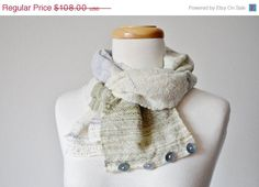 Hand Woven Rustic Scarf with Functional Buttons in by awkward, $91.80