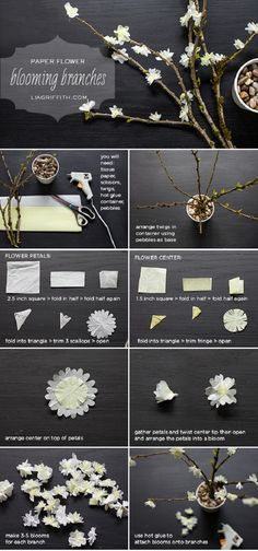 Creative DIY Projects Using Twigs and Branches , DIY PAPER FLOWER BLOOMING BRANCHES...................... On the tables,, or up at the front.. we could have branches with little blooms on it!