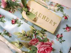 """Pretty laundry bag - perhaps I could use my old but pretty """"top sheets"""" to make some!"""