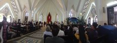 And a panoramic photo of seven weddings happening in one hour at Church chua cuu the Vietnam