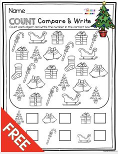 FREE Christmas count and compare - perfect for correspondence and practice numbers in kindergarten and preschool Christmas Math Worksheets, Preschool Christmas, Preschool Math, Christmas Printables, Christmas Activities For Preschoolers, Halloween Worksheets, Kindergarten Freebies, Kindergarten Activities, Free Math