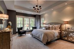 2013 Luxury Home-Inver Grove Heights - traditional - bedroom - minneapolis - Highmark Builders Beautifully staged master bedroom Cozy Bedroom, Dream Bedroom, Bedroom Decor, Bedroom Furniture, Bedroom Colors, Master Room, Master Bedroom Design, Master Suite, Master Bedrooms