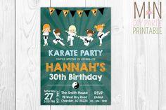 Karate Birthday Party Invitation 3,Karate Birthday Invitation, Tae Kwon Do Birthday Invite,Chalkboard Karate invitation,Girl Karate invite by minprintable on Etsy (null)