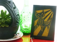 MidCentury Modern Atomic Tiki Kitten Cat Black Linocut Print on Sunny Yellow Mulberry Paper with Frame - Eames Hepworth Art Deco inspired