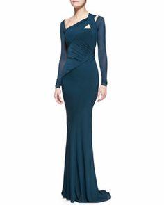 B2L29 Donna Karan Floor-Length Draped Gown, Teal
