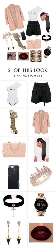 """""""Caption"""" by queentreza on Polyvore featuring Lisa Marie Fernandez, Boohoo, Pleaser, River Island, Chanel, Anne Sisteron, VSA, FOSSIL and Brixton"""