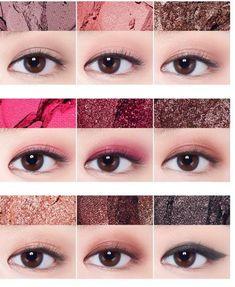 Pin by るる ねこ on メイク in 2019 Korean Makeup Tips, Asian Eye Makeup, Pink Eye Makeup, Girls Makeup, Makeup Eyeshadow, Makeup Goals, Makeup Inspo, Makeup Inspiration, Makeup Hacks