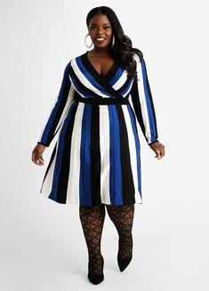 Plus Size Sweater Dress, Plus Size Sweaters, Full Figure Fashion, Stripes Design, Plus Size Outfits, New Dress, Color Blocking, Plus Size Fashion, Glow