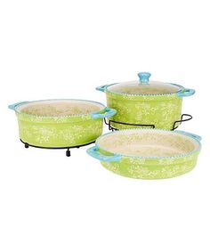 Lime Floral Lace Cook & Look Round Baker Set #zulily #zulilyfinds