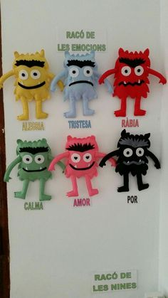 Monstre de colors. Emocions. Material Didático, Crochet Monsters, Library Art, Kindergarten, Counseling Activities, Baby Teethers, Feelings And Emotions, Child Life, Toddler Preschool