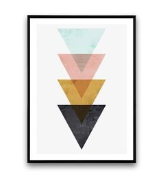 Minimalist wall art Triangle print Nordic style by Wallzilla