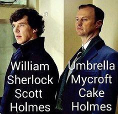 William Sherlock Scott Holmes, Umbrella Mycroft Cake Holmes