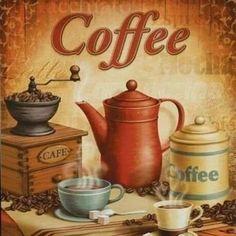 Coffee anyone ? I Love Coffee, Coffee Art, Coffee Break, Coffee Shop, Decoupage Vintage, Decoupage Paper, Kitchen Art, Kitchen Decor, Coffee Poster