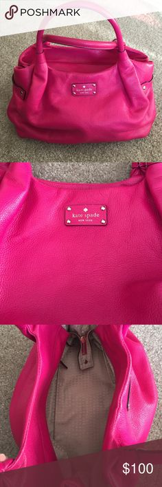 Authentic Kate Spade Pink Stevie Purse This is an Authentic Kate Spade purse! It has some use and a few spots that show a little wear but nothing too noticeable! Second picture shows a small line of wear and a part by the Kate Spade plate! Inside fabric in great condition! If you want more pictures of the few spots with wear let me know and I can post more! kate spade Bags