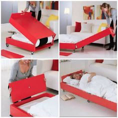 DIY Guest Bed & Coffee Table - maybe make bigger and use as a bench like seating area when folded Space Saving Furniture, Cool Furniture, Furniture Design, Furniture Plans, Cama Murphy, Murphy Beds, Tiny Spaces, Guest Bed, Small Space Living