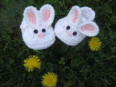 baby bunny crocheted slippers. These would help me smile on a bad day...