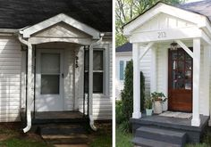 A couples DIY Curb Appeal Boost. I think they could have dome without the priced… A couples DIY Curb Appeal Boost. I think they could have dome without the priced addition and removal of windows and still have had amazing results. Home Exterior Makeover, Porch Makeover, Home Design, Front Porch Remodel, Front Porch Addition, Small Porches, Front Porches, Porch Columns, Bungalow Exterior