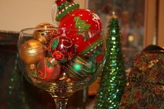 Christmas tea decorations.  Bulbs in a container.