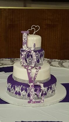 White, Purple, Silver, Shimmer Damask Wedding Cake