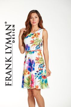 Frank Lyman Spring 2017. Gorgeous floral dress in very feminine a line style. Comfortable scuba fabric. Proudly Made In Canada