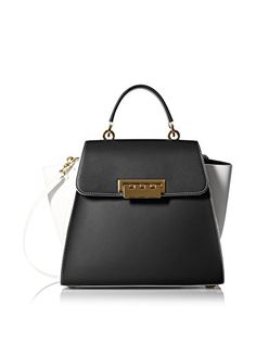 """www.myhabit.com  Structured carryall features a flat base with protective metal feet, interior zip and 2 slip pockets, exterior slip pocket, 3.5"""" handle drop with optional shoulder strap"""