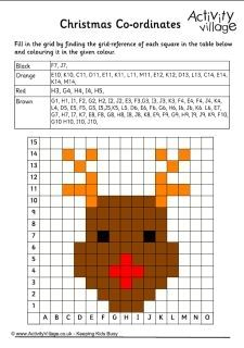 Kerstmis Coördinaten Werkbladen
