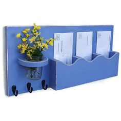 Mail Organizer Mail and Key Holder Key Hooks Jar Vase Organizer... ($40) ❤ liked on Polyvore featuring home, home decor, small item storage, black, entryway furniture, furniture, home & living, colored jars, flower home decor and key holder