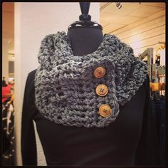 Infinity scarf with Buttons by HandmadeABN on Etsy, $25.00