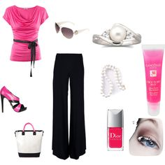 """""""pretty in pink"""" office apparel, created by manders01 on Polyvore"""