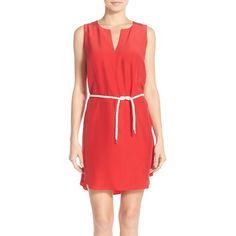 Amanda Uprichard 'Antigua' Silk Shift Dress (5 730 UAH) ❤ liked on Polyvore featuring dresses, new red, nautical dress, sleeveless shift dress, silk shift dress, shift dress and sleeveless dress