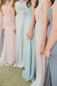 Pastel Wedding Inspiration - Style Me Pretty Pastel Bridesmaids, Bridesmaids And Groomsmen, Wedding Bridesmaids, Bridesmaid Dresses, Wedding Dresses, Bridesmaid Colours, Summer Wedding, Dream Wedding, Wedding Day