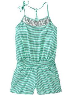 Girls Sequined Striped Rompers #OldNavy