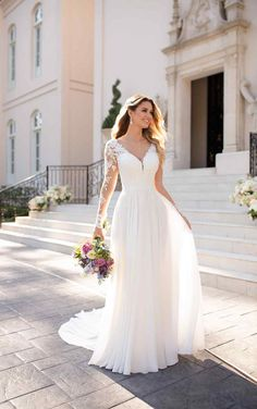 Casual long-sleeved wedding dress - Stella York wedding dresses - For wedding . - Casual long-sleeved wedding dress – Stella York wedding dresses – For wedding – Casual long-s - Wedding Dress Sleeves, Lace Dress, Dresses With Sleeves, Lace Sleeves, Lace Gowns, Wedding Dress Necklines, Chiffon Dress Long, Boho Dress, Wedding Dress Trends