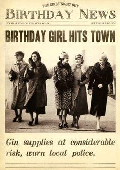 Funny card - Birthday girl hits town - Fleet Street | Comedy Card Company