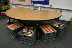 Love this cute idea of using crates with padding as chairs for guided reading groups!