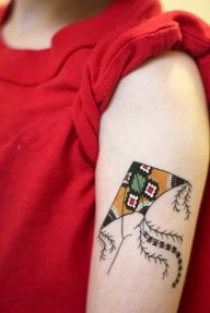 Kite color tattoo with shadows. Cute indie style