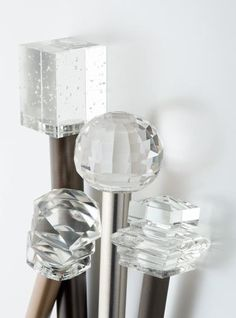 Not sure I necessarily like any of these but just collecting ideas. Crystal Finials for curtain rods Curtains With Blinds, Bay Window Curtains, Burlap Curtains, Window Seats, Finials For Curtain Rods, Curtain Poles, Curtain Hardware, Window Hardware, Corpus Christi