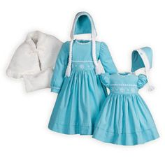 Princess inspired finewale corduroy sister dresses have hand-embroidered snowflakes accents. Button backs. Tie back belts. Machine wash. USA made excl
