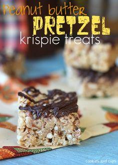 Peanut Butter Pretzel Krispie Treats - Cookies and Cups